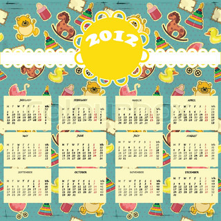 calendar 2012 - Week starts on Monday