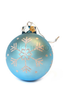 Blue Christmas ball with ornament of snowflake