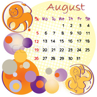 2012 calendar august with zodiac signs