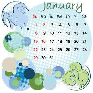 2012 calendar january with zodiac signs and united states holidays