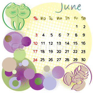 2012 calendar june with zodiac signs and united states holidays
