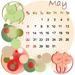 2012 calendar may with zodiac signs and united states holidays