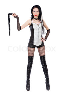 Sexy domina is holdin a whip isolated on a white background