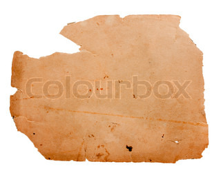 old scrap of paper on a white background