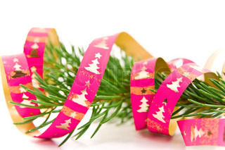 a tree branch decorated with christmas ribbon