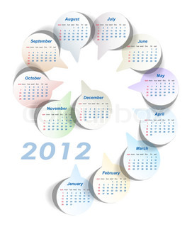 Vector calendar 2012 week starts on Sunday