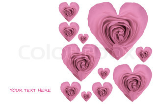 valentine card with heart shaped rose petals