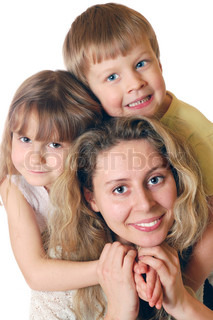 portrait of a woman with two kids