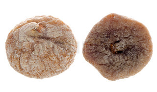 Close up of dried fig fruit isolated on white background
