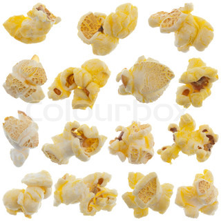 Popped kernels of pop corn snack isolated on white background