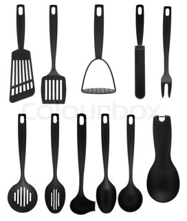 kitchen utensil collection isolated on white background