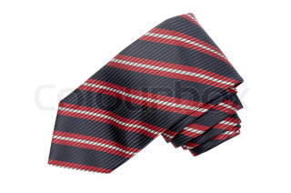 Striped red, white and blue tie isolated on white background