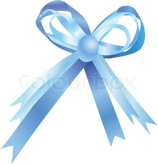 Blue bow isolated on a white background Vector illustration