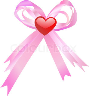 Pink bow and red heart isolated on a white background Vector illustration