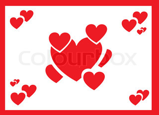 Valentines Day card with red hearts on white background