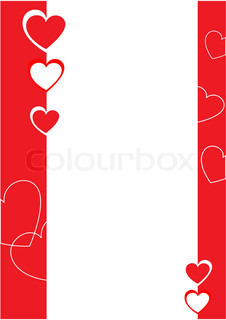Red and white hearts, decorative border Vector illustration