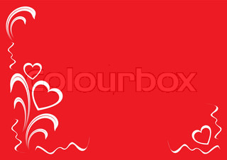 hearts and floral ornament, white on the red background, vector illustration