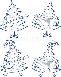 Christmas trees with guitar and accordion, pictograms set