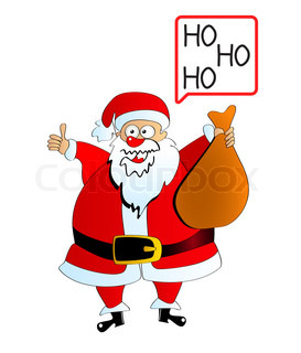 Santa Claus carrying sack over white
