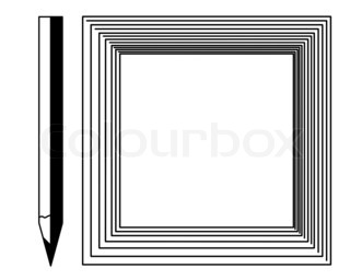 pencil with frame on white background