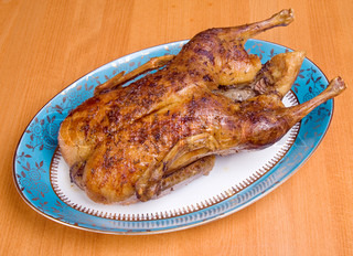 Roasted duck on the table