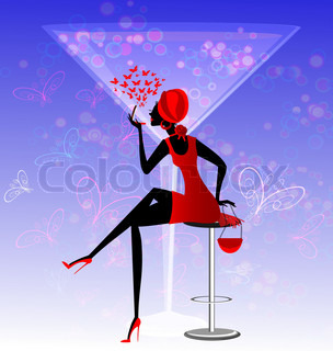 on an abstract blue background is stylish lady in red