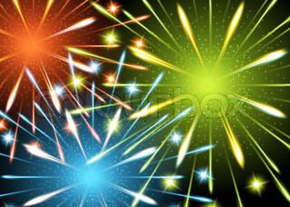 Fireworks explosion background glow color vector