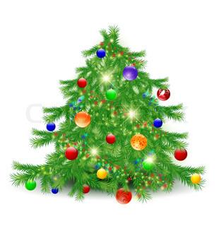 Illustration af pyntet juletræ over hvide