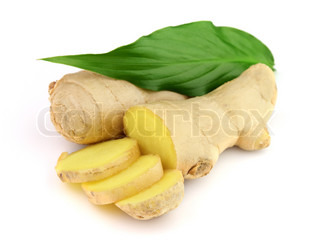 Ginger with leaves on a white background