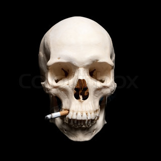 Symbol of the dangers of smoking Human scull with cigarette
