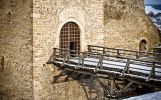 Bridge over the moat and entrance tower of Hotin fortress, Ukraine