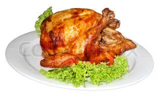 Tasty Crispy Roast Chicken on white plate