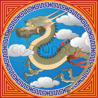 Chinese dragon flying in the clouds