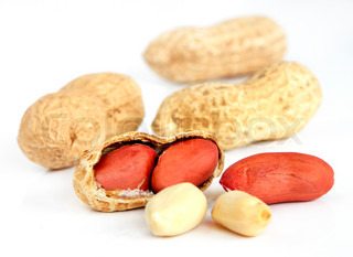 Peanuts with white background