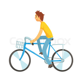 Adult man riding bicycle with front basket ... e94b77201f64