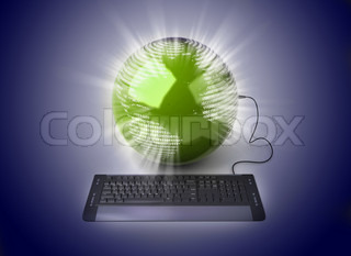 """Earth Globe connected with computer """"keyboard"""""""