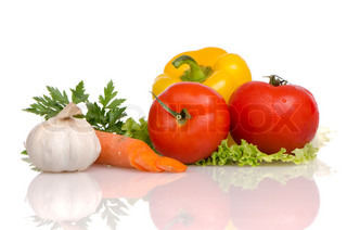 Health food vegetables isolated on a white background