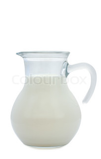 small jug of milk isolated on white