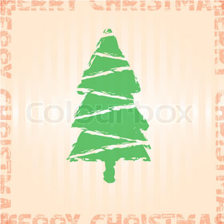 Vintage vector Retro Christmas card with christmas tree