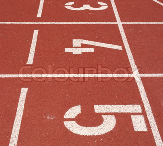 Numbers of the Start Line of Athletics Running Tracks