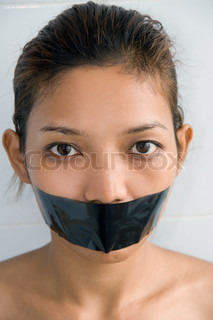Young woman with mouth sealed