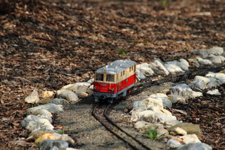 small toy model of the train in the garden