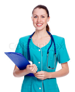 Female nurse, isolated over a white background