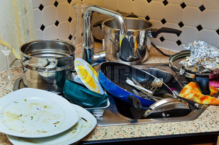 in a kitchen, a large amount to wash the dishes prepared
