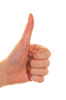 the thumb of a woman's hand pointing up