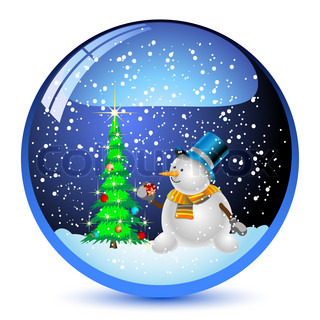 Illustration snow globe with a christmas tree and snowman within.