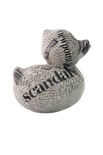 newspaper duck on white background