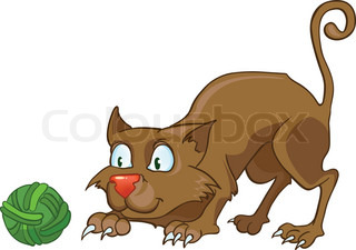 Cartoon Character Cat Isolated on White Background