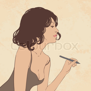 Beautiful woman writing with pen