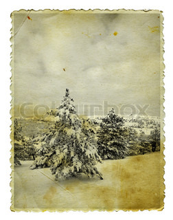 Vintage retro style winter christmas photo isolated